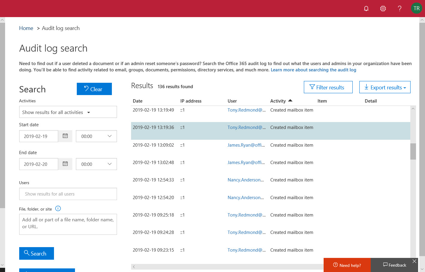Office 365 Audit Log Search
