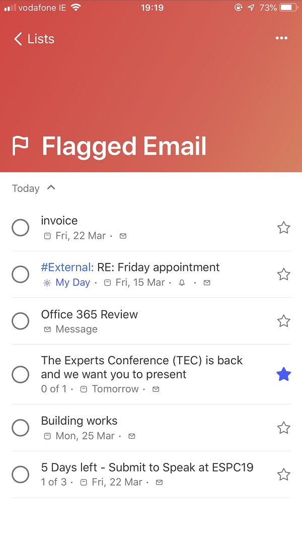 Viewing a set of flagged messages in Microsoft To-Do