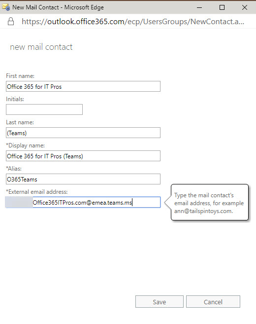 Add Teams Channel as an Exchange Mail Contact - Office 365 for IT Pros
